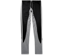 Grosgrain-Trimmed Satin and Jersey Drawstring Sweatpants