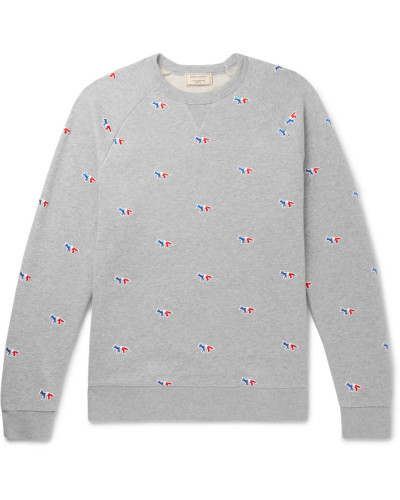 Embroidered Mélange Loopback Cotton-jersey Sweatshirt - Gray
