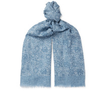 Fringed Paisley-print Cotton And Linen-blend Scarf - Blue