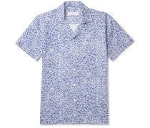 Travis Slim-fit Camp-collar Printed Cotton And Linen-blend Shirt - Blue