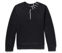 Lace-detailed Bonded-jersey Sweatshirt - Black