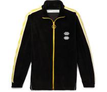 Logo-intarsia Cotton-blend Velour Track Jacket - Black