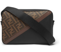 Logo-Print Coated-Canvas and Leather Messenger Bag