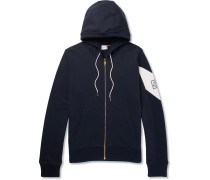 Fleece-back Cotton-jersey Zip-up Hoodie - Navy