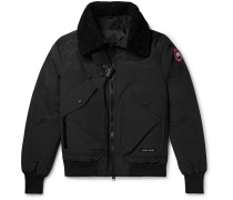 Bromley Shearling-trimmed Canvas Down Bomber Jacket - Black