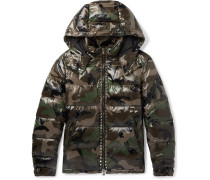 Studded Camouflage-print Quilted Shell Hooded Down Jacket