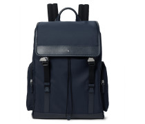 Sartorial Jet Cross-grain Leather-trimmed Nylon Backpack - Navy