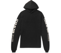 Oversized Printed Cotton-jersey Hoodie - Black