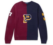 Colour-block Appliquéd Loopback Cotton-blend Jersey Sweatshirt - Burgundy