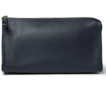 Grained-leather Wash Bag - Navy