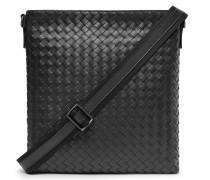 Intrecciato Leather Messenger Bag - Black