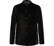 Navy Slim-Fit Velvet Tuxedo Jacket