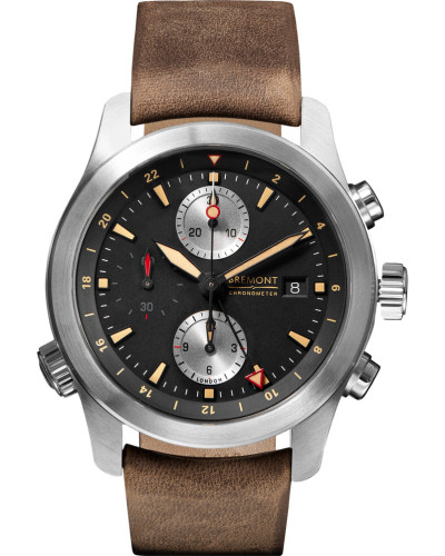 Alt1-zt/51 Chronograph 43mm Stainless Steel And Leather Watch - Black