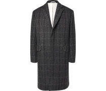 Oversized Checked Virgin Wool And Silk-blend Coat - Gray