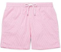 Mid-length Striped Seersucker Swim Shorts - Pink