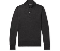 Slim-fit Knitted Wool Polo Shirt - Charcoal