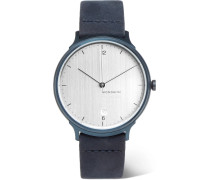 Helvetica No1 Light Brushed Stainless Steel And Suede Watch - Silver