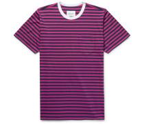 Striped Cotton-jersey T-shirt - Plum