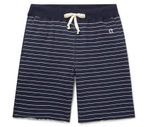 Striped Loopback Cotton-jersey Drawstring Shorts