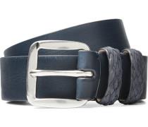 3cm Navy Leather Belt - Navy