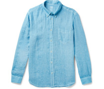 Button-down Collar Linen Shirt - Blue