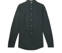 Grandad-collar Modal And Cotton-blend Twill Half-placket Shirt - Dark green