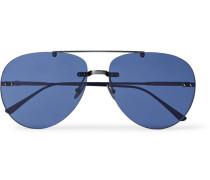 Aviator-style Gunmetal-tone Sunglasses