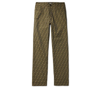 Logo-jacquard Trousers - Brown