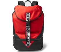 Logo-jacquard And Leather-trimmed Colour-block Nylon Backpack - Red
