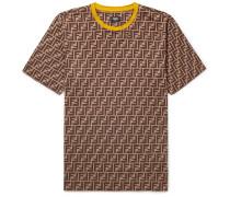 Logo-print Cotton-jersey T-shirt - Brown