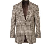 Brown Slim-Fit Prince of Wales Checked Wool Blazer