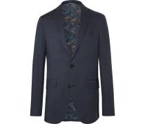 Navy Slim-fit Paisley-print Wool Suit Jacket - Navy