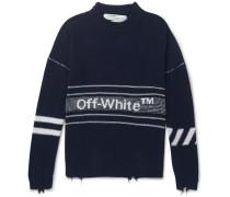 Distressed Logo-intarsia Wool Sweater - Navy