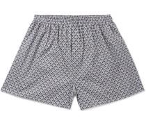 Printed Cotton Boxer Shorts - Navy