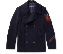 Embellished Wool And Cashmere-blend Peacoat - Navy