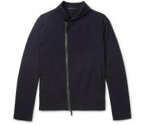 Slim-fit Virgin Wool-piqué Jacket - Midnight blue