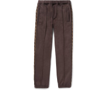 Slim-fit Tapered Logo-trimmed Cotton, Wool, Silk And Cashmere-blend Sweatpants - Brown