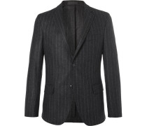 Grey Slim-fit Pinstriped Wool-flannel Blazer