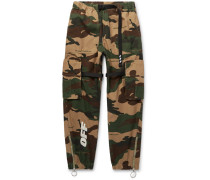 Webbing-trimmed Camouflage-print Cotton-ripstop Cargo Trousers