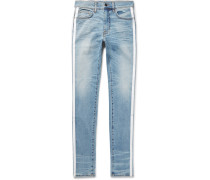 Track Stack Skinny-fit Striped Distressed Stretch-denim Jeans