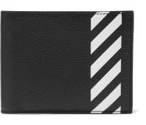 Striped Pebble-grain Leather Billfold Wallet - Black