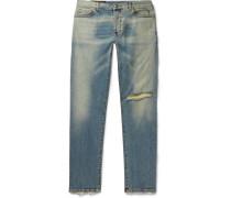 Tapered Distressed Denim Jeans - Blue