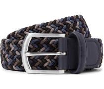 3.5cm Storm-blue Leather-trimmed Woven Elastic Belt - Storm blue