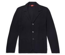 Slim-fit Textured Merino Wool Cardigan - Navy