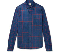 Checked Washed Cotton-twill Shirt - Navy