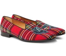 Gallipoli Appliquéd Tartan Tweed Loafers