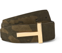 4cm Reversible Camouflage-Print Suede and Black Leather Belt