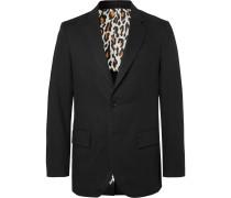 Black Unstructured Herringbone Linen Suit Jacket