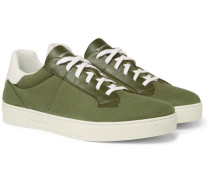 Vulcanizzato Flex Leather-trimmed Canvas Sneakers - Green