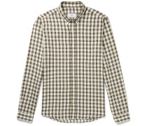 Slim-Fit Button-Down Collar Checked Woven Shirt